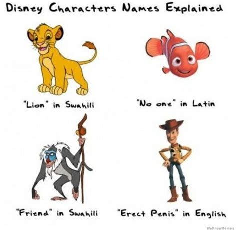 Funny Character Memes - disney character names explained