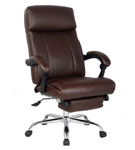 reclining office chair with footrest viva office 174 new high back ergonomic brown bonded leather