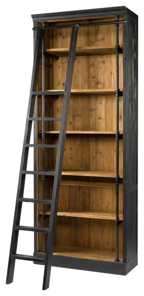French Library Bookcase With Ladder Industrial Industrial Bookcase With Ladder