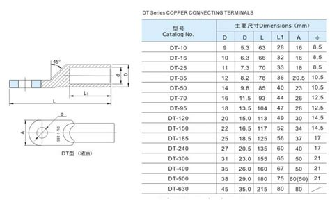 Dt Copper Connecting Terminals Standard Dt 240 cable lugs for 120mm 150mm 185mm 240mm 300mm view cable