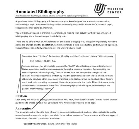 Annotated Bibliography Template Mla