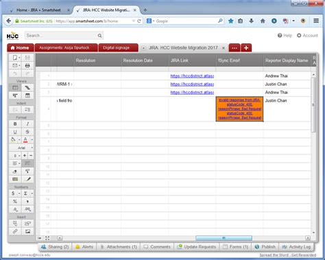 Invalid Response From Jira Statuscode 400 During Smartsheet For Jira Workflow Sync Smartsheet Workflow Template