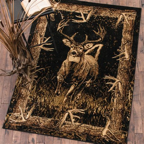 deer bathroom rugs camo rugs 8 x 11 buck woods deer rug camo trading