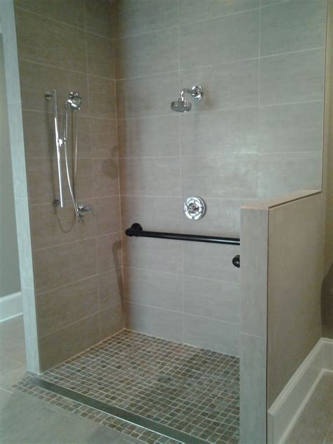 Handicap Accessible Shower W Custom Grab Bars Bathroom Handicapped Bathroom Showers