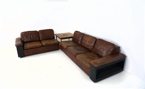Cool Leather Sofas Cool Leather Sofa With Bookcase In The Back Two Parts For Sale At 1stdibs