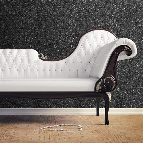 glitter wallpaper reviews muriva sparkle plain glitter wallpaper in black 701353