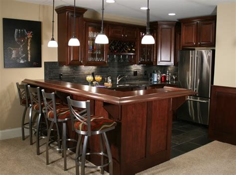 Home Bar Kitchen Kitchen And Bars Traditional Basement Indianapolis