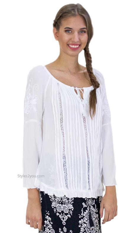 Emory Lace emory embroidery lace boho peasant blouse bell sleeves