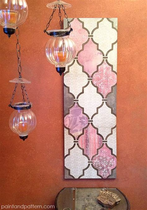 Decoupage A Wall - diy decoupage wall using scrapbook paper and stencils