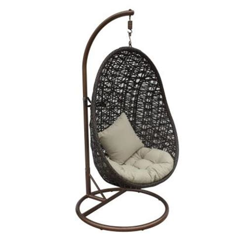 Jlip Brown Double Woven Rattan Patio Swing Chair With