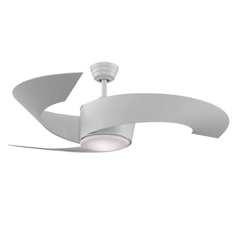 ceiling fan no downrod shop fanimation torto 52 in matte white indoor outdoor
