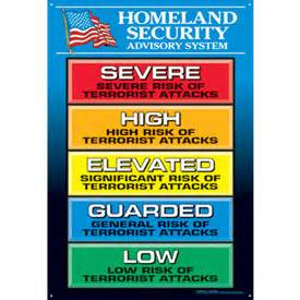 terror threat level colors homeland security advisory system wall charts safety