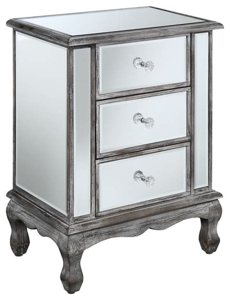 Mirrored End Tables by Gold Coast Vineyard 3 Drawer Mirrored End Table Modern