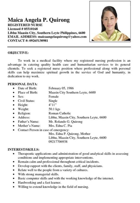 sample resume registered nurse philiphines   RESUMES DESIGN