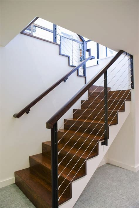 Home Interior Design Steps Cable Staircase Staircase Modern With Carpet Texture Cable
