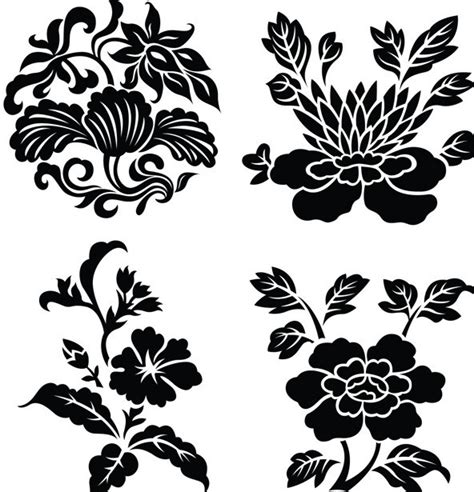 floral pattern frame vector free black vintage flower plant patterns vector 02 titanui