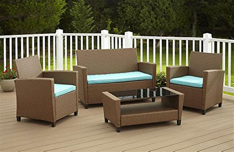 teal patio furniture cosco dorel industries outdoor 4 resin wicker patio set brown and teal cushions home