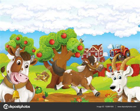 la granja y sus escena de la granja dibujos animados feliz con corriente perro caballo y pie vaca y cabra