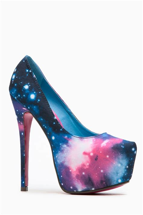 shoes high heels liliana solange almond toe galaxy print heel cicihot