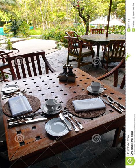 Luxury Cutlery by Outdoor Dining Restaurant Table Cutlery Settings Stock