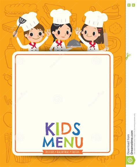 kids menu young chef children with blank menu board