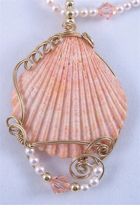 shells for jewelry gold filled wire wrapped clam shell pendant by frances lediaev