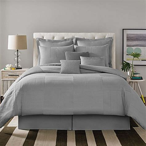 real simple 174 linear patchwork comforter set in grey bed