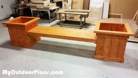 outdoor planter bench diy garden planter bench myoutdoorplans free woodworking plans and projects diy