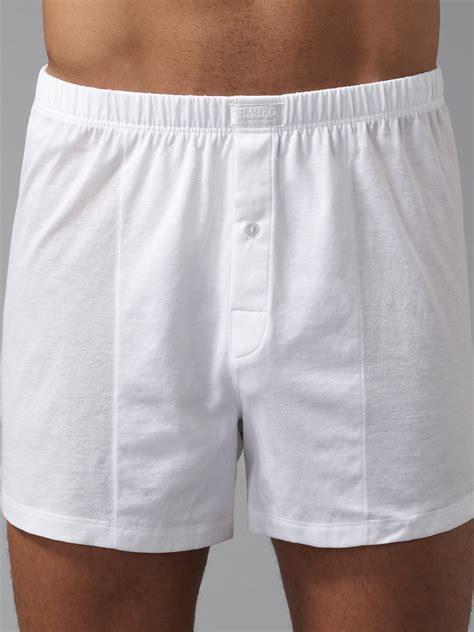 boxers for hanro cotton jersey boxers in white for lyst