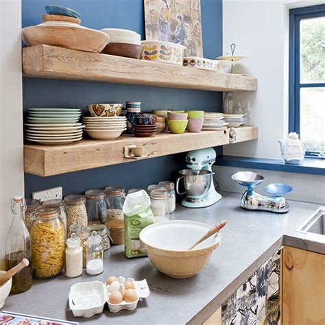 shelves in kitchen ideas timber shelves on bold painted wall kitchen shelving