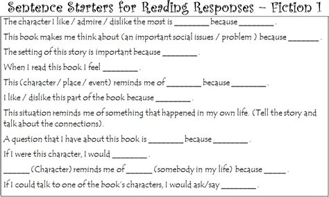 Sentence Of A Book Report by Senior Reading Responses Margd Teaching Posters