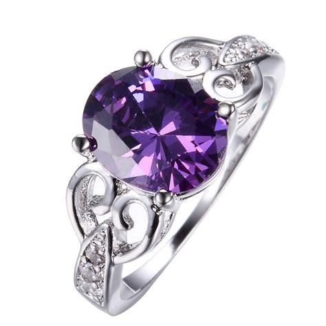 size6 11 oval cut purple amethyst wedding engagement ring