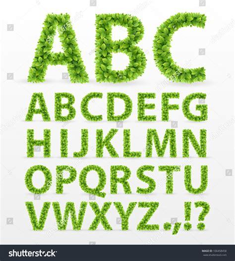 Font Green green leaves font vector illustration stock vector 106458458