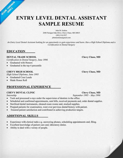 Resume Objective Entry Level Assistant Entry Level Dental Assistant Resume Sle Dentist Health Student Resumecompanion