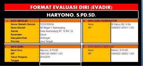 contoh format evaluasi diri guru sd format evaluasi diri format exel evadir sd negeri 1
