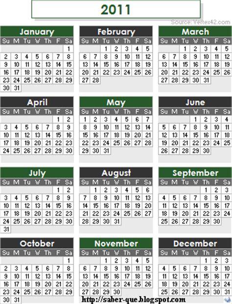 Calendario Q Saber Que Calendario A 241 O 2011