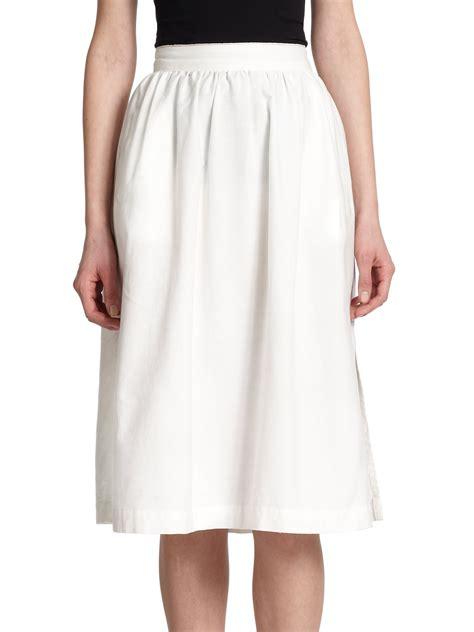 white cotton midi skirt dress