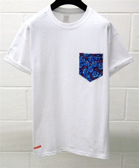 plain t shirt with pattern pocket men s blue floral pattern white pocket tshirt by