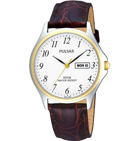 mens pulsar classic stainless steel gold highlighted