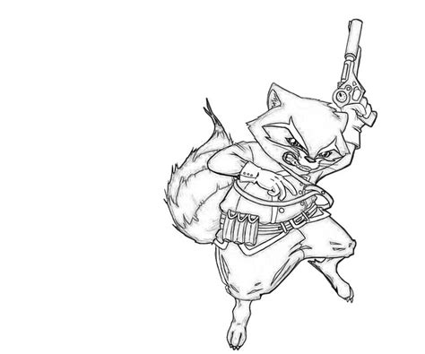 rocket raccoon coloring pages print coloring