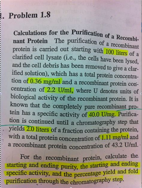u protein concentration calculations for the purification of a recombinant
