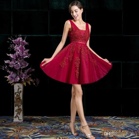 New Naila Dress Vg new arrival wine lace bridesmaid dresses a line v neck knee length appliques beaded sashes