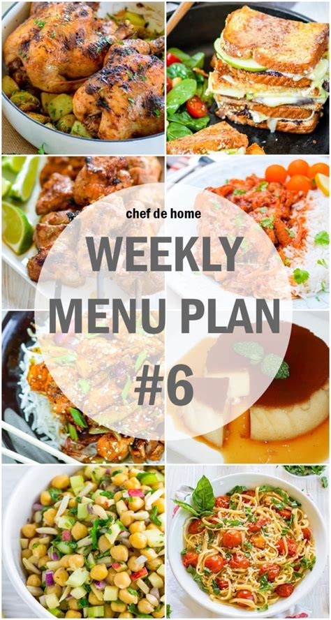 menu for dinner for 6 weekly meal menu plan 6 meals chefdehome