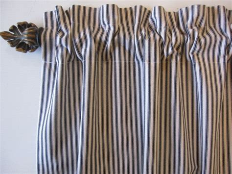 Black Valance Curtains Black Woven Cotton Ticking Stripe Curtain Valance Or Cafe 50 X