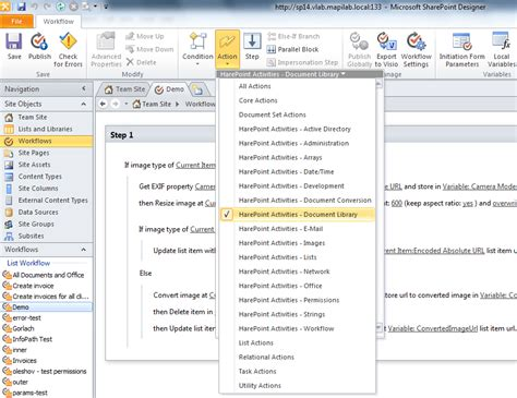 sharepoint designer 2010 workflow actions harepoint workflow extensions screenshots