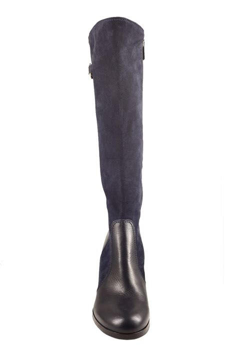 cressy calf high wedge boot leather and suede royal blue