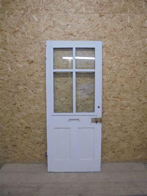 Half Glazed Exterior Doors Half Glazed Painted Black White Front Door Authentic Reclamation