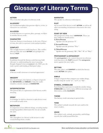 printable quiz on literary devices literary terms worksheet free worksheets library
