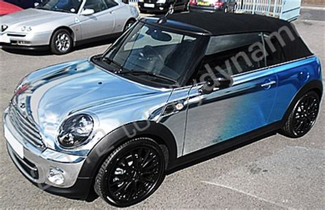 printable chrome vinyl mini cooper convertible vinyl wrapped in printed mirror