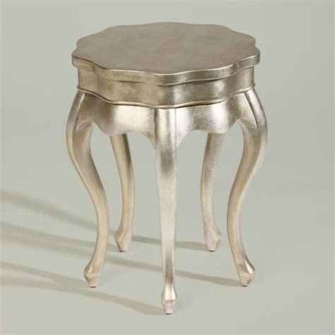 silver accent tables silver leaf five leg table traditional side tables and